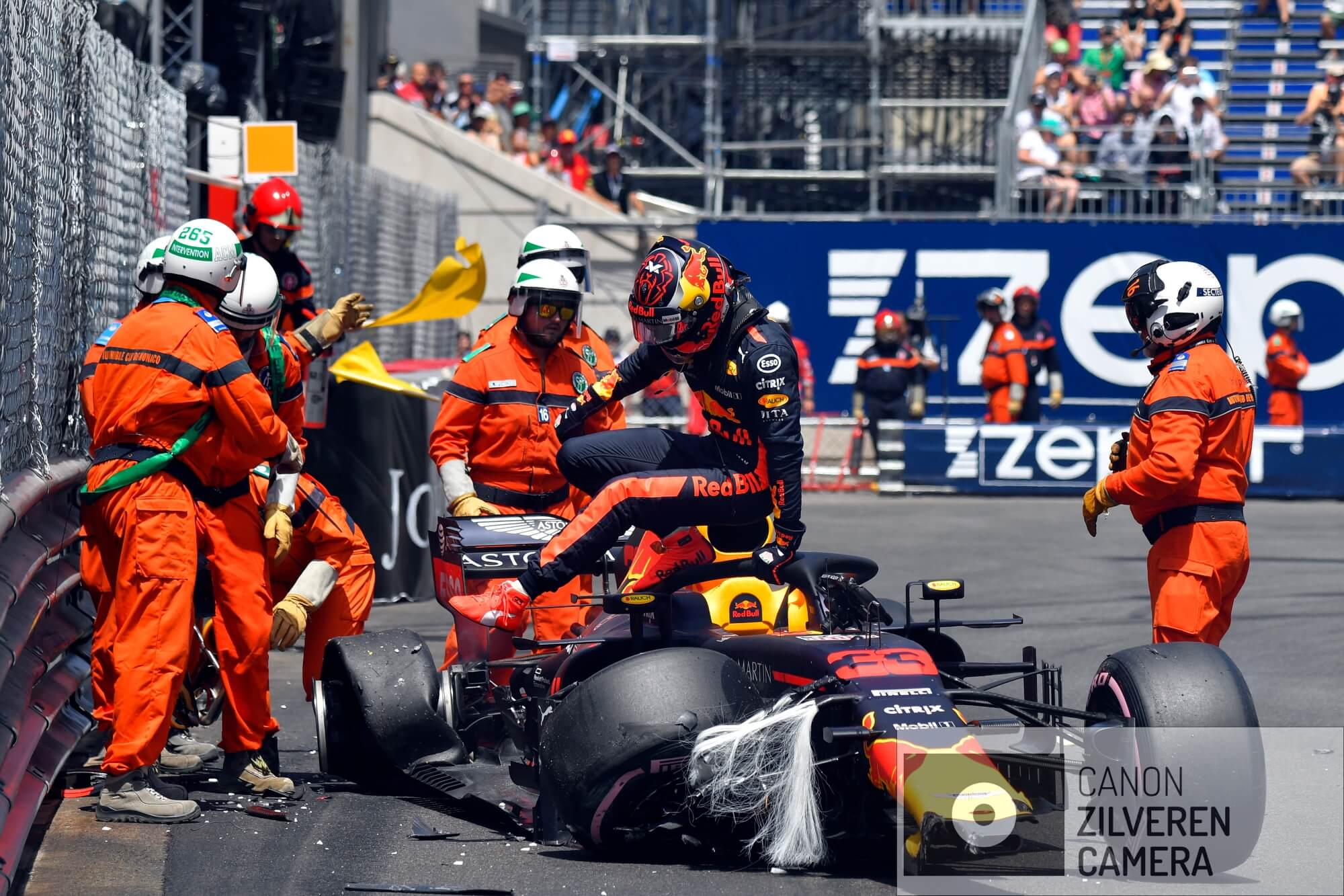 Crash Max Verstappen in saturday morning practice session, Red Bull Racing, Grand Prix Monaco, Monaco street circuit, Formula1, Round 06, 2018.