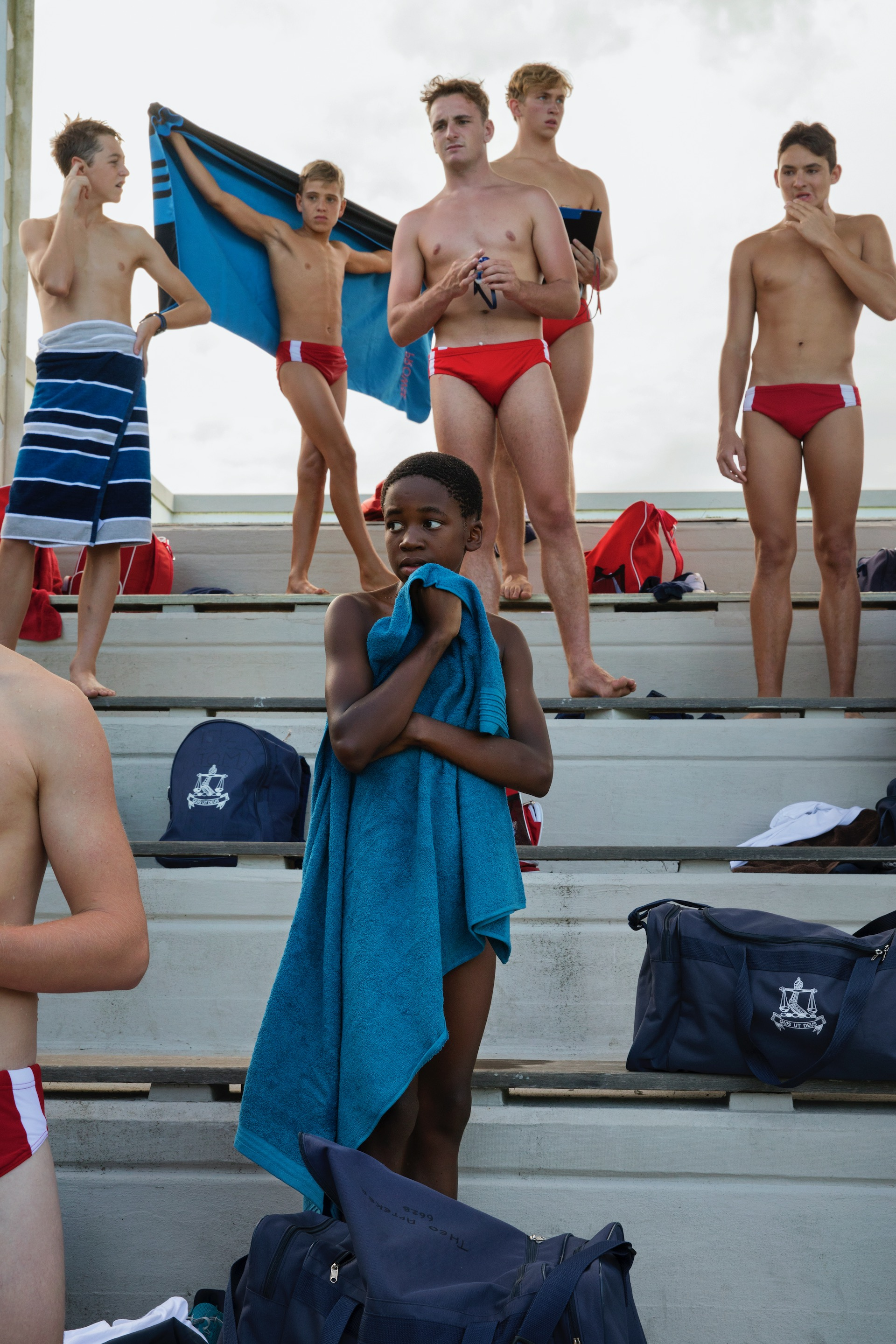 7.  The swim team of Michaelhouse, a neighbouring boarding school to Hilton College, during a swimming match at boarding school Hilton College in Hilton, South Africa. Most boarding schools used to be all-white during apartheid, but since the '90s the schools are all mixed. (2019)