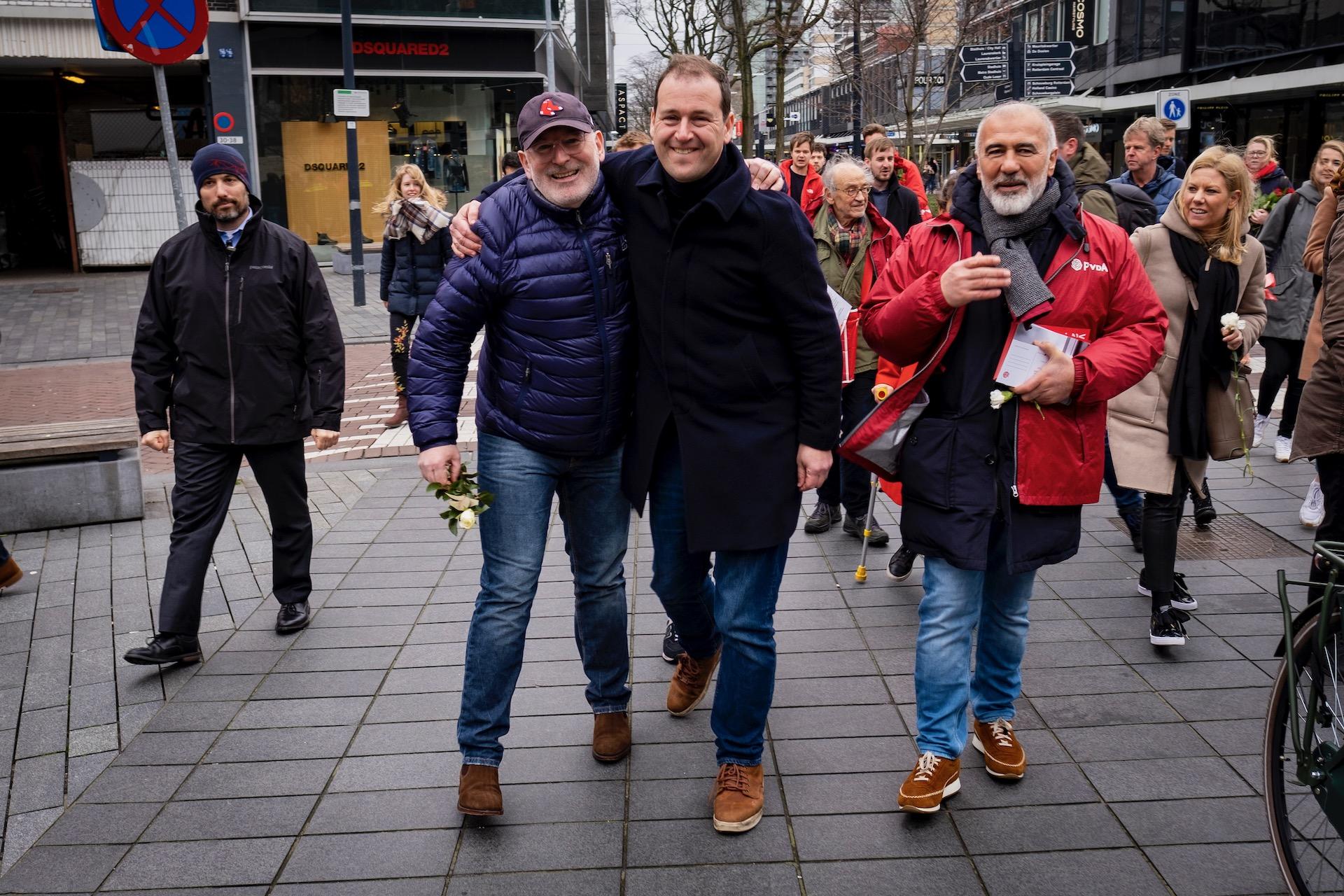 Nederland, Rotterdam, 16032019 - Frans Timmermans op campagne in Rotterdam voor de Europese verkiezingen.